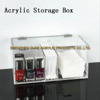 China Lucite Rectangle Sub-grid Clear Acrylic Storage Container Cosmetic Depositary Box on sale