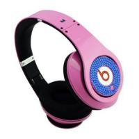 China Monster Headphones Beats By Dr.Dre Studio Ruby Pink with Blue Diamond on sale