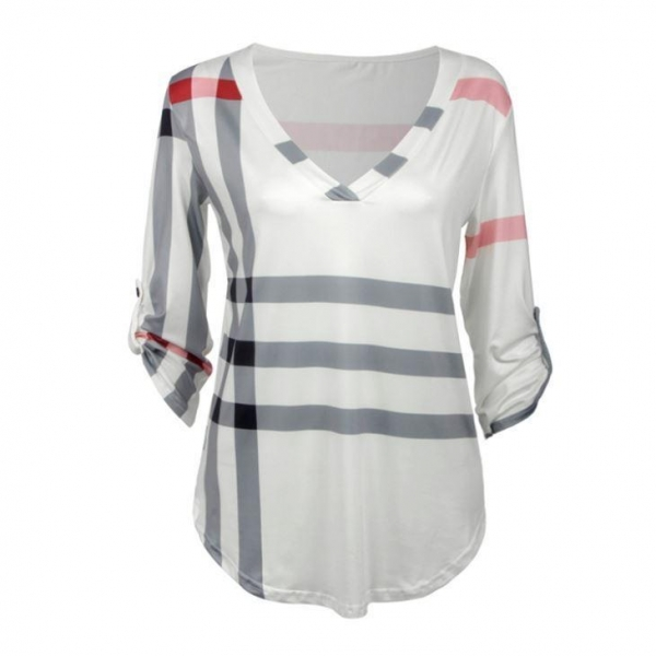 China 3/4 Sleeve V Neck Ladies Striped Blouses for Work Chic Plus Size Plaid Print Tops