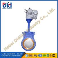 Carbon steel motorised knife gate valve installation, automated gate valve