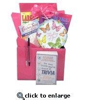 Quality Gift for Cancer Patient |Boredom Buster Get Well Gift Basket with Book in Pink for sale