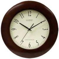 China WT-3124F 12.5 Inch Atomic Analog Wall Clock - Brown on sale