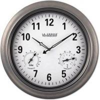 China WT-3181P Indoor and Outdoor Analog Atomic Wall Clock 18-inch - Pewter on sale