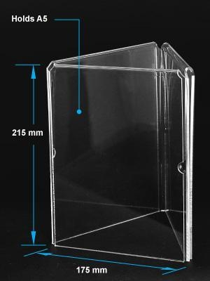 Quality Acrylic Table Tent Clear acrylic A5 menu holder with three sides for sale