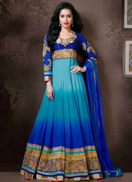 newlatest blue shraddha kapoor ankle length anarkali