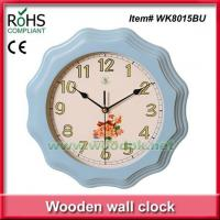 China WK8015BU28.5cm Promotional blue color timber quartz wall clock painting on sale