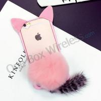 Buy cheap Cartoon 3D Cat Shaped Ear Fluffy Plush Fur Soft TPU Case with Soft Tail Cover for iPhone6 product