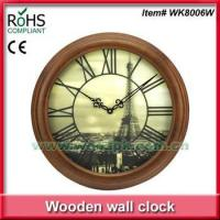 China 2015 Woodpecker 20inch round 3D dial wood quartz wall clock on sale