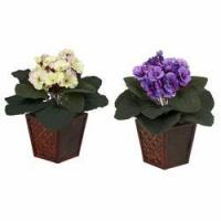China African Violet w/Vase Silk Plant (Set of 2) NN6685-S2 on sale