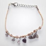 China Gemstone Amethyst Charm Bracelet, Handmade Natural Crystal Quartz string bracelet for girls
