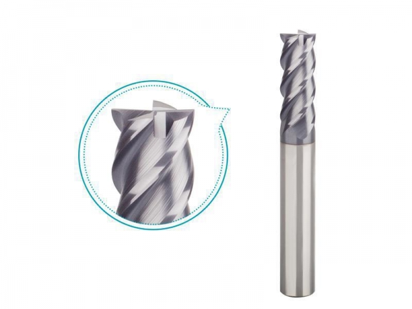 China Four fluted end mill carbide for high hardened steel HRC45-55 finishing milling